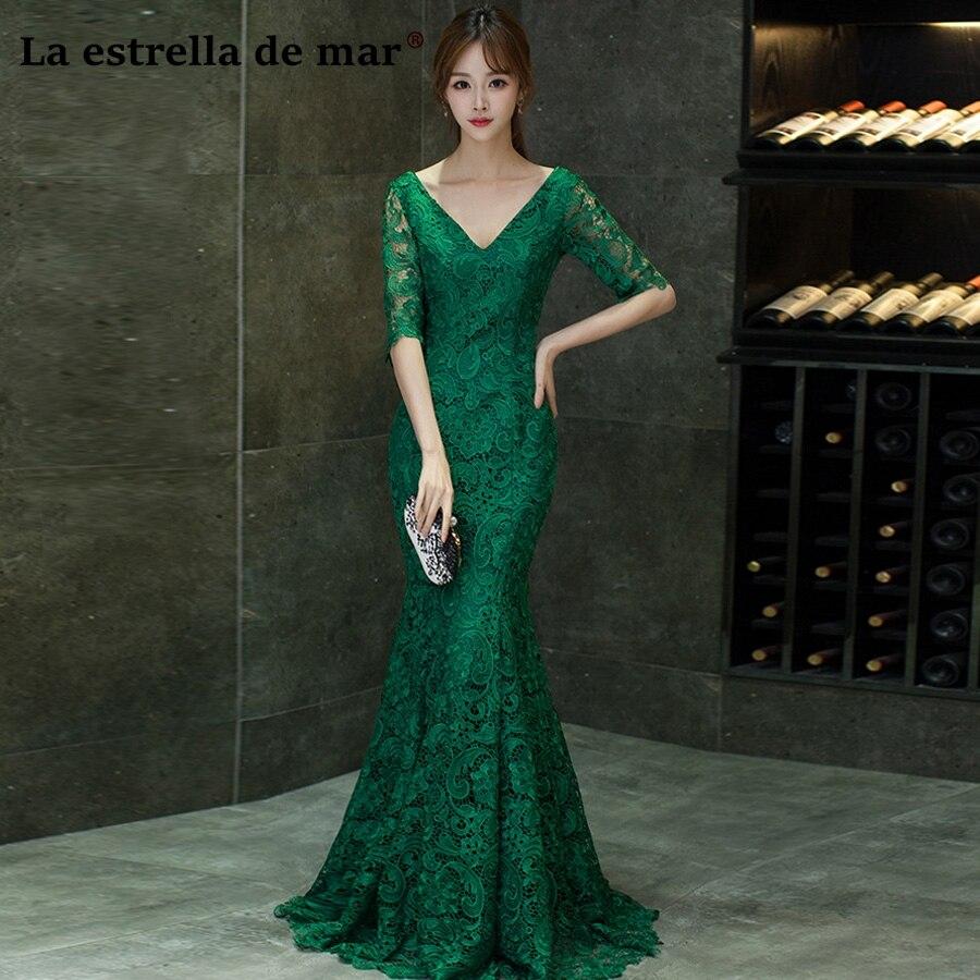 2dd62181faad7 Vestidos de festa vestido longo para casamento new lace V neck 1/2 sleeve  sexy mermaid dark green red wedding guest dress