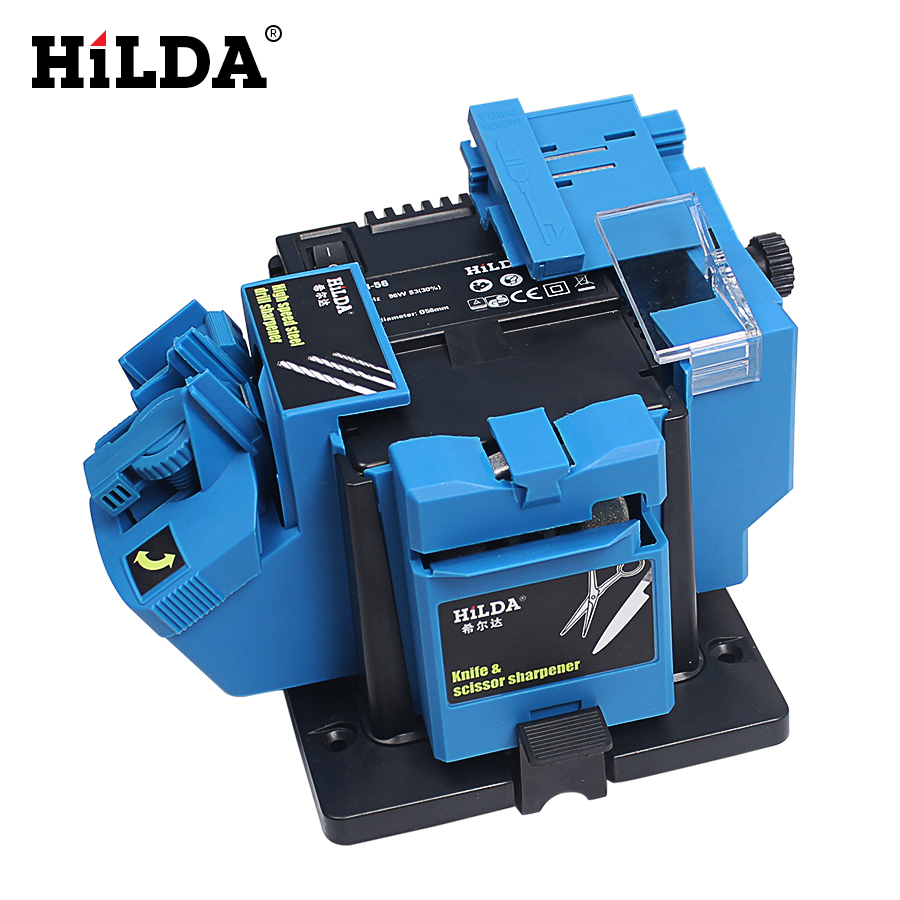 HILDA Multifunction Electric Knife Sharpener Drill Sharpening Machine Knife & Scissor Sharpener Household Grinding Power Tools electric multifunction knife sharpening sharpener grinding knife drill sharpener electric drill bit sharpener