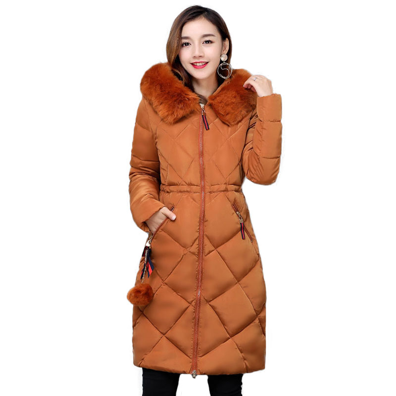 Jacket Winter Women Parkas Mujer 2017 Winter Warm Fur Collar Hooded Down Cotton Wadded Coat Quilted Jackets Windproof Outwear plus size 5xl winter jacket women hooded long parka down cotton jacket women fur collar wadded coat parkas abrigos mujer c3762