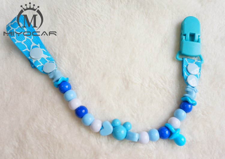 MIYOCAR safe molti colori perline clip di ciuccio fatto a mano / catena titolare Dummy clip / clip di dentiere / supporto ciuccio per bambino