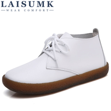 LAISUMK Women basic Boots Genuine Leather Lace up Ladies Moccasins Short Boots Ankle Boots for Women Footwear Flats Shoes Spring