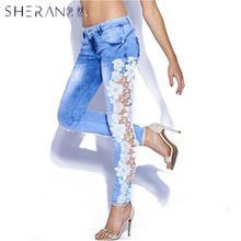 2018 Hot women fashion slim low waist jeans woman sexy lace crochet stretch denim trousers skinny slim blue pencil pants pants
