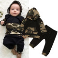 Winter Camouflage Baby Hoodies Newborn Boys Toddler Hooded Tops +Long Pants Outfits Set Clothes Christmas Clothes W0