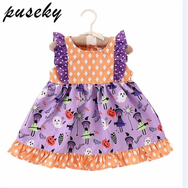 цена на Puseky 2018 Halloween Girls Dress Fly Sleeve Princess Print Party Dresses Toddler Kids Baby Girl Clothes Tutu Festival Vestidos