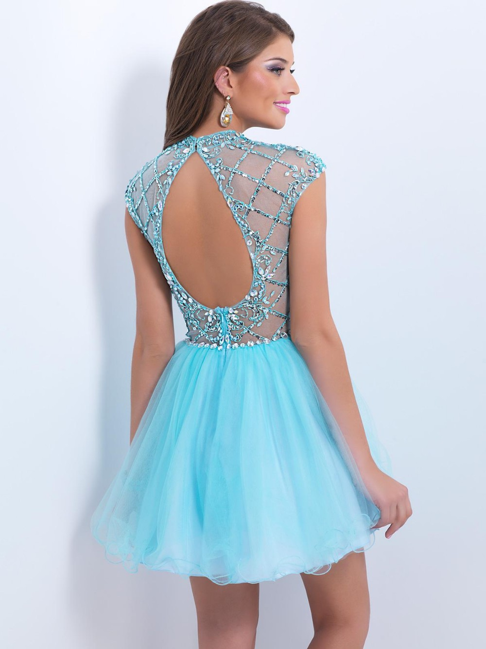 Pretty Homecoming Dresses Crystal Illusion High Neckline With Gorgeous Jeweled Bodice Unique Party dress-in Homecoming Dresses from Weddings & Events ...