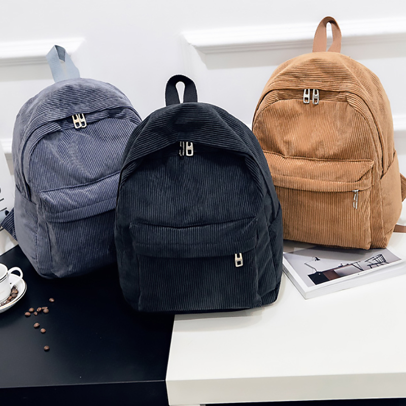 2019 New Corduroy Women Backpack Pure Color Women Travel Bag Fashion Double Backpack Female Mochila Bagpack Pack Design(China)