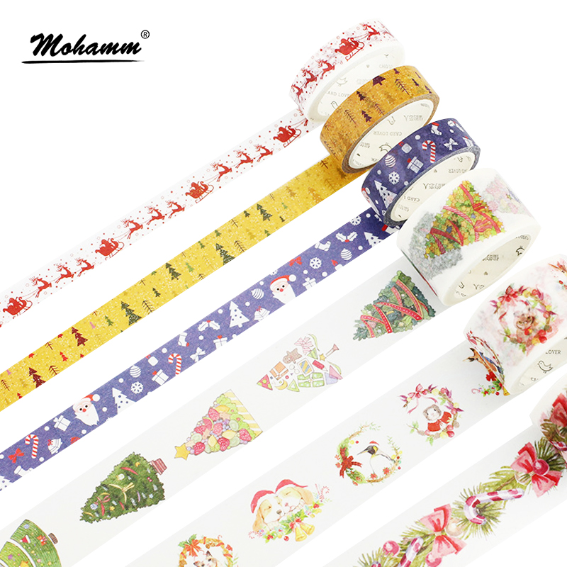 Creative Golden Christmas Japanese Decorative Adhesive Tape Washi Tape DIY Scrapbooking Masking Tape School Office Supply colorful gilding hot silver alice totoro decorative washi tape diy scrapbooking masking craft tape school office supply