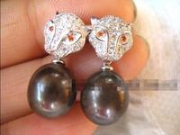 Free Shipping >> freshwater pearl black silver leopard earring nature wholesale beads fashion