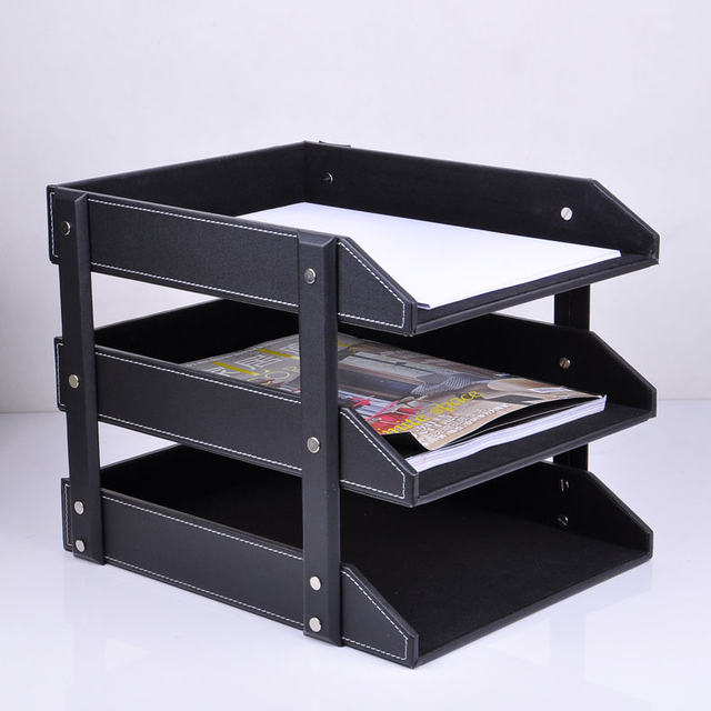 Ordinaire 3 Layer Detachable Wood Leather Desk Filing Tray Box Office Organizer Case  Document Container Black