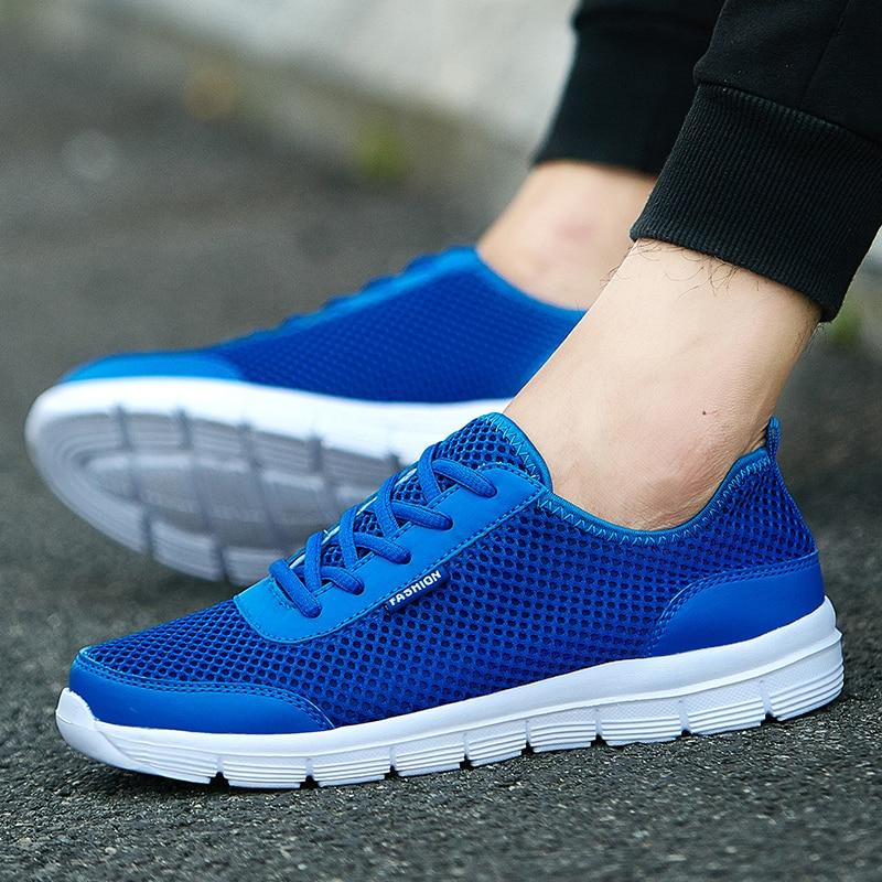 2019 nouvelles chaussures hommes décontractées été léger respirant maille mode homme chaussures baskets confortable grande taille 35-47 bleu