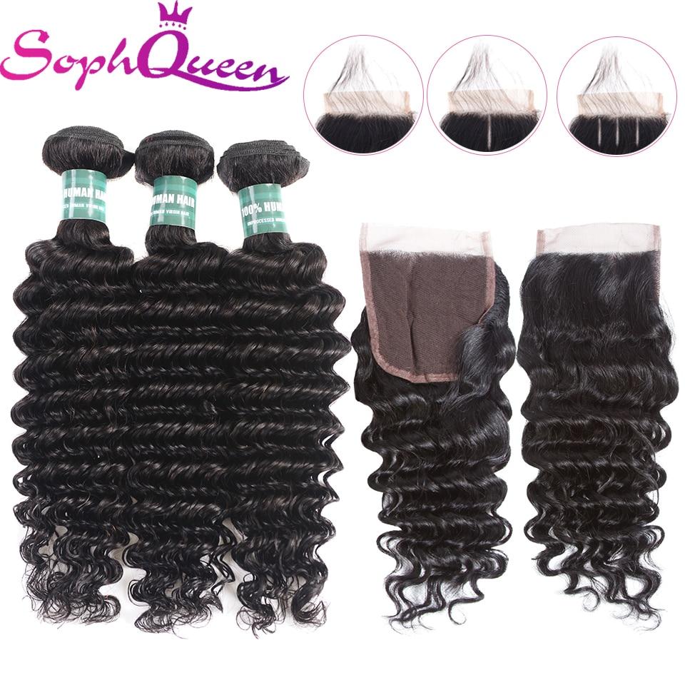 Soph Queen Hair Deep Wave Human Hair Bundles With Closure Brazilian Remy Hair Weave Bundles With