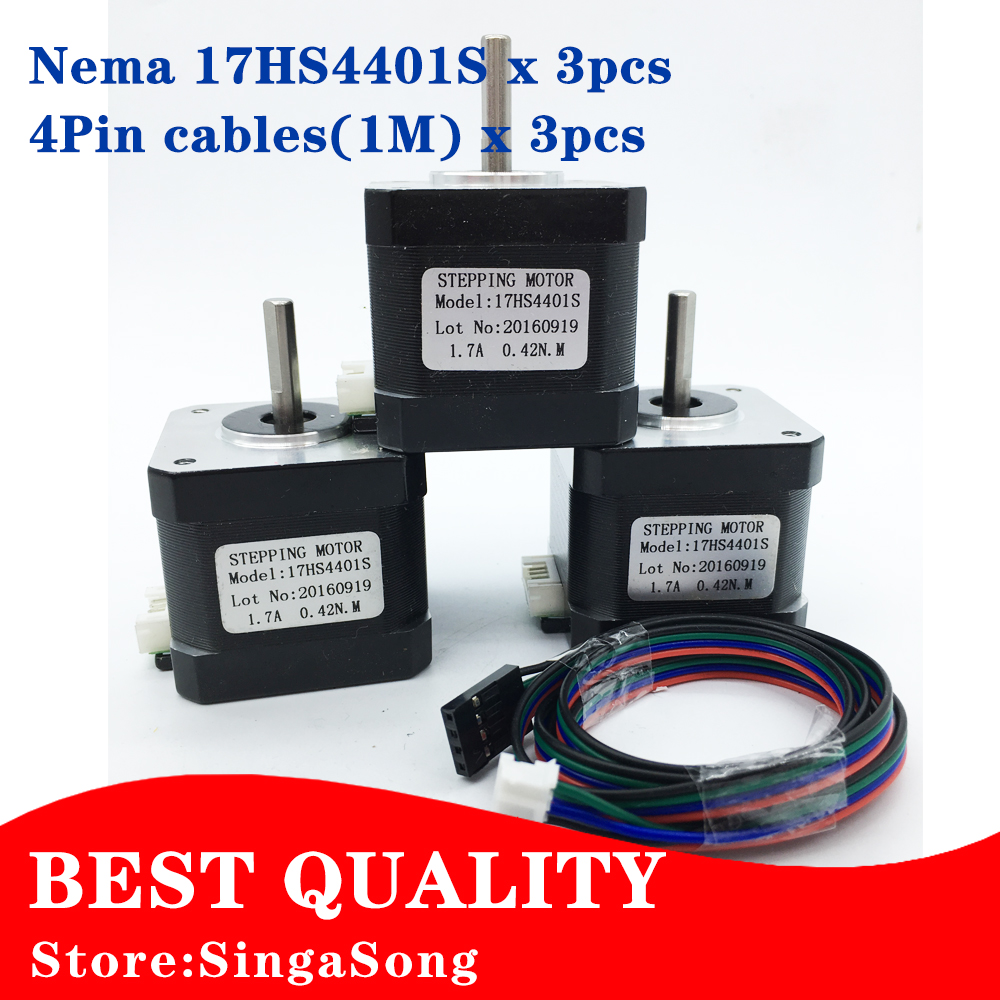 цены  3pcs/lot. Free Shipping 3D printer 4-lead Nema17 Stepper Motor 42 motor Nema 17 motor 42BYGH 1.7A (17HS4401S) motor for CNC XYZ