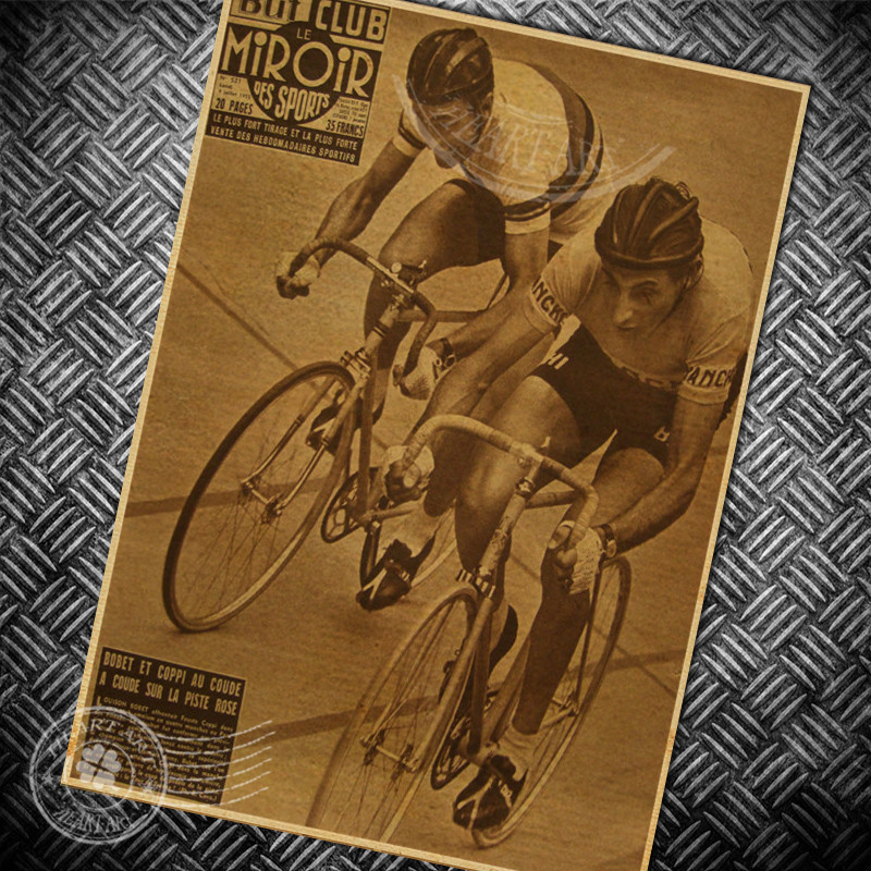 ᐃBicycle Cycling race Vintage poster retro wall art sticker bar ...