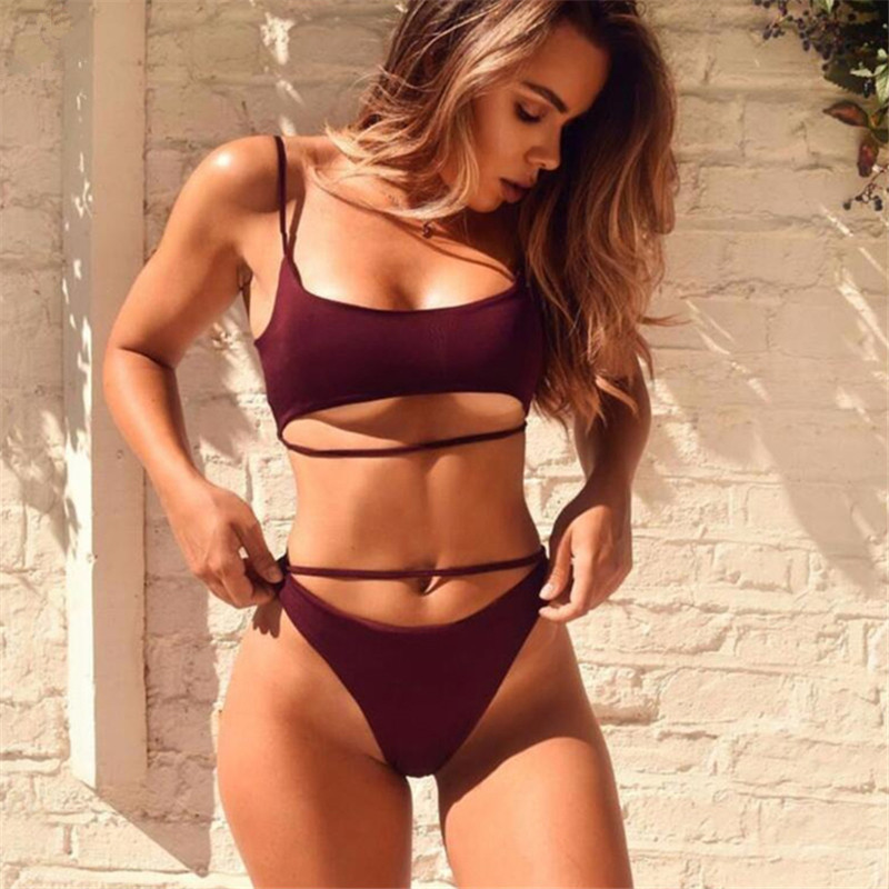 2019 Bikini Set Sexy Swimwear Swimsuit Hollow Out Bathing Suit Women Push Up Bikini Solid Maillot