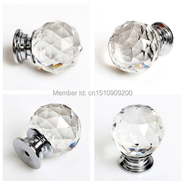 3pcslot Diameter 50mm Clear Crystal Ball Glass Kitchen Cabinet Door