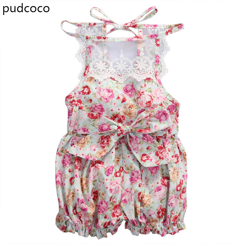 Cute Newborn Infant Baby Girl Lace Floral Bodysuits Rose Red Summer Sleeveless BacklessBodysuits Jumpsuit Outfit Clothes 2pcs set newborn floral baby girl clothes 2017 summer sleeveless cotton ruffles romper baby bodysuit headband outfits sunsuit