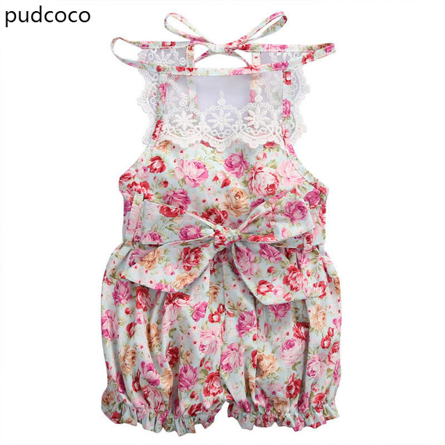 9164bc7932f Cute Newborn Infant Baby Girl Lace Floral Bodysuits Rose Red Summer  Sleeveless BacklessBodysuits Jumpsuit Outfit Clothes