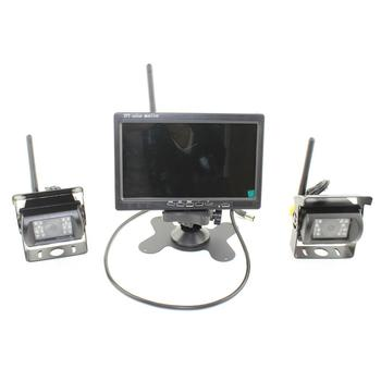 Wireless 7 Inch LCD Monitor + 2 X Rear View Reversing Camera Kits For Car Bus Truck Rearview Reverse Backup Camera