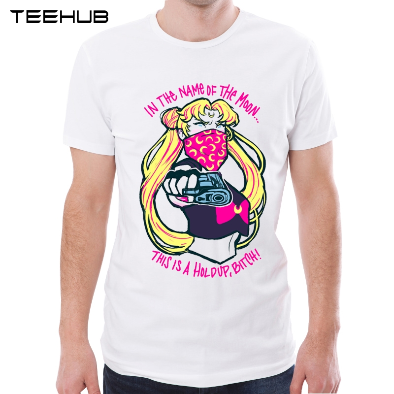 7d8b7095 New Arrival Sailor Moon Men T-Shirt In The Name Of The Moon Printing Short