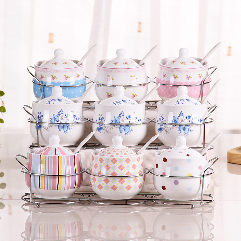 ceramic Spice bottles Jar Seasoning Box 3Pcs/Set Kitchen Storage Bottle Jars Salt Pepper Cumin Powder