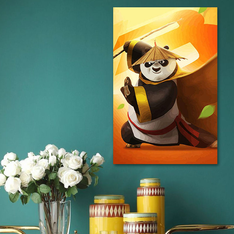 diy oil painting Kung Fu movie Panda digital paint by numbers Po cartoon posters gift for kids drawing practice