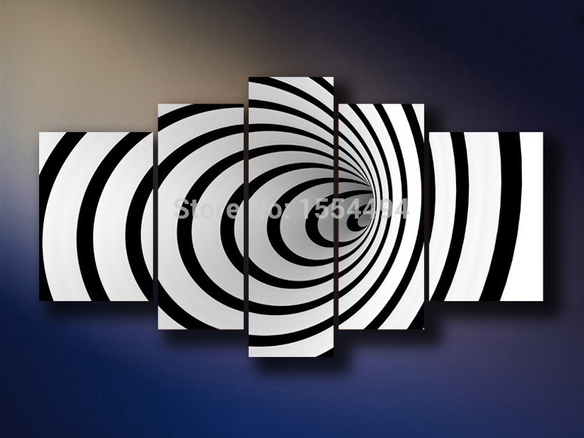 Free Shipping Large Modern Abstract Black White Line Stripe Oil