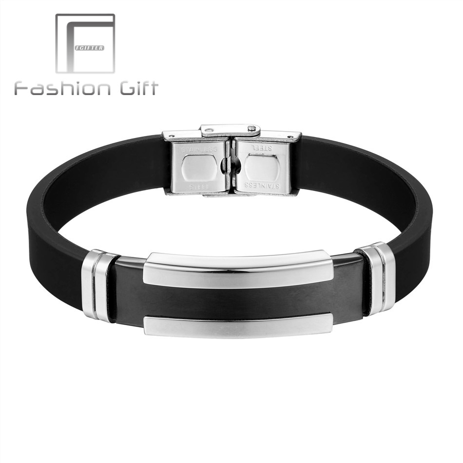 Fgifter Men S Silver Black Stainless Steel Silicone Rubber Bracelets Mens Bangle Wristbands Pulsera Male Jewelry