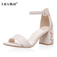 LALA IKAI Faux Suede Women Sandals Embroider High Heel Women Sandals Ethnic Floral Sandalias Muje Party