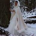 Мода Великолепный Мыс Зима Свадебный Shrug Куртка Свадьба Длинный Белый Плащ Обертывания С Капюшоном Партии Обертывания Куртка