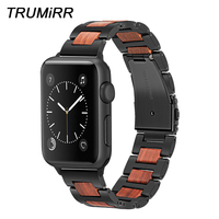 TRUMiRR Natural Wood + Stainless Steel Watchband for iWatch Apple Watch 38mm 40mm 42mm 44mm Series 1 2 3 4 Band Wrist Strap Belt