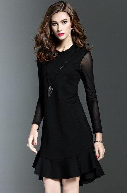 9e67f2f0422 2017 мода черное платье с оборками Юбка До Колена открытые платья офисные  юбки размер S-