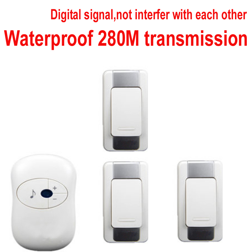 door ring bell w/ 3 emitters doorbell Waterproof 280M Long-range wireless doorbell,wireless door chime,36 melodies door bell new door ring waterproof 280m long range wireless doorbell wireless door chime wireless bell door bell 48 melodies