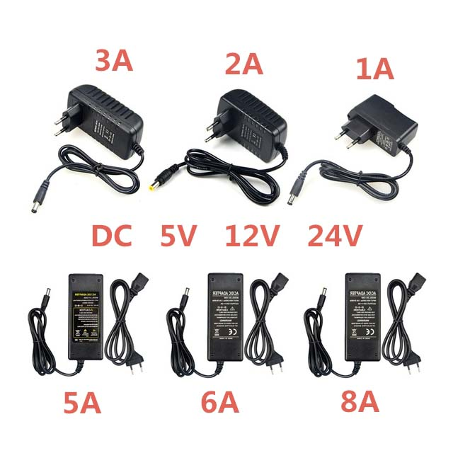 Power Adapter Supply <font><b>DC</b></font> 5V 12V 24V 1A 2A 3A <font><b>5A</b></font> 6A 8A <font><b>DC</b></font> <font><b>5</b></font> 12 24 V Volt Lighting Transformers LED Driver Power Adapter Strip Lamp image