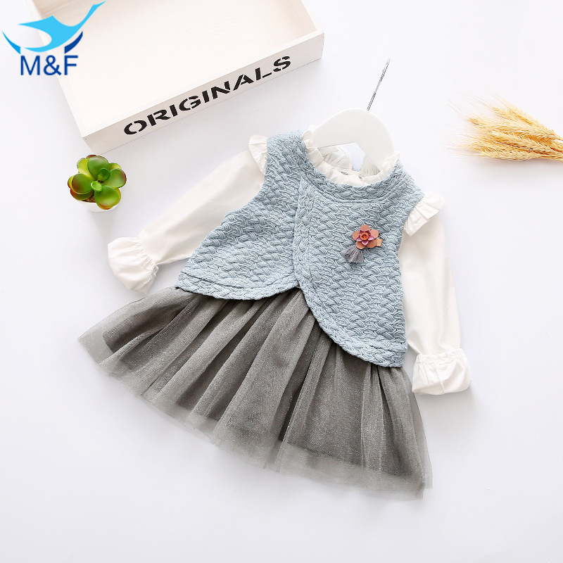 M F 2017 Spring Baby Girl Tutu Dresses Cotton Long Sleeve Beautiful Infant Clothing New Arrival