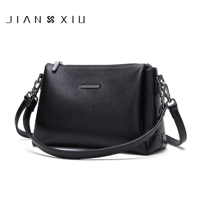 Bagaj ve Çantalar'ten Omuz Çantaları'de JIANXIU Marka Kadın postacı çantası Kadın Omuz Crossbody Litchi Doku Hakiki Deri Çanta 2019 Küçük 2 Renk Tote Çanta'da  Grup 1