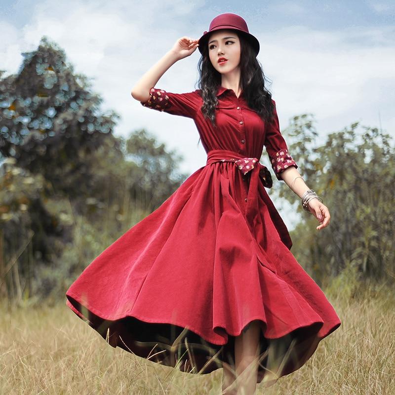 Kadın Giyim'ten Elbiseler'de BOSHOW İlkbahar Sonbahar Kadınlar Kırmızı Kadife Midi Elbise Bayanlar Vintage Retro Sevimli Ince Uzun Kollu Resmi Elbise vestido curto jurken'da  Grup 2