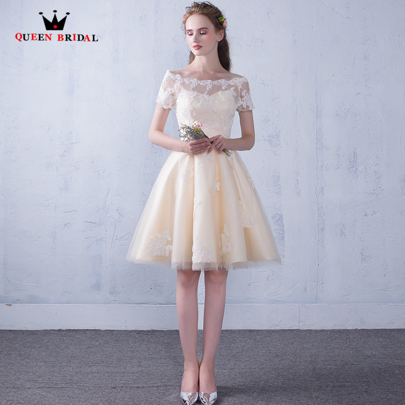 Champagne A-line Tulle Lace Short   Evening     Dresses   2018 New Arrival Party   Dress     Evening   Gowns Robe De Soiree QUEEN BRIDAL MS01