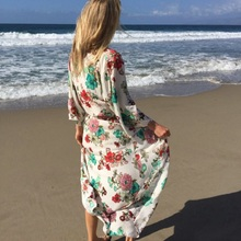 Women's Summer Blouse Loose Kimono Floral Print Cardigan Cotton Beachwear Dress floral print loose fit kimono