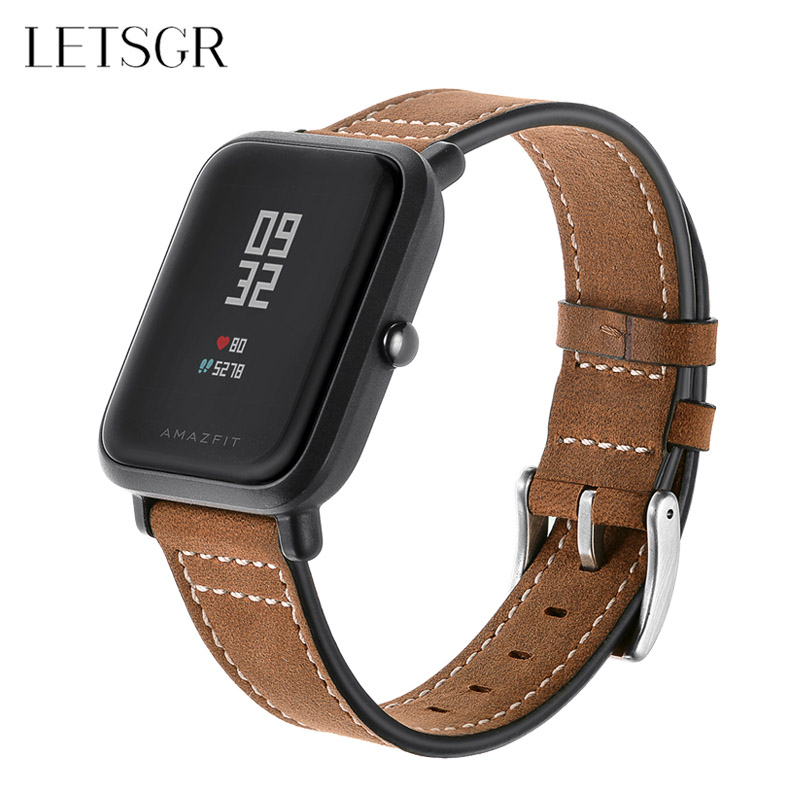 LETSGR Smart Wrist Band for Xiaomi Amazfit Bip Youth Smart Watch Genuine Leather Strap for Amazfit Bip Pace Wearable Accessories