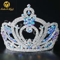 Miss Beauty Pageant Tiara and Crown Clear Crystals Brides Round Prom Party Costumes Wedding Crowns Bridal Hair Accessory Blue