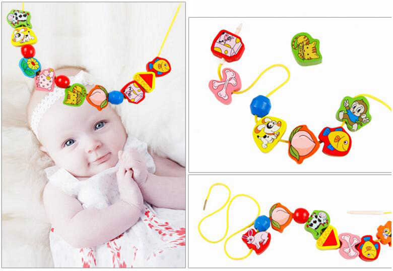 26 個木のおもちゃ赤ちゃん Diy のおもちゃの漫画フルーツ動物糸スレッディング木製のビーズのおもちゃ Monterssori 子供のための教育 GYH
