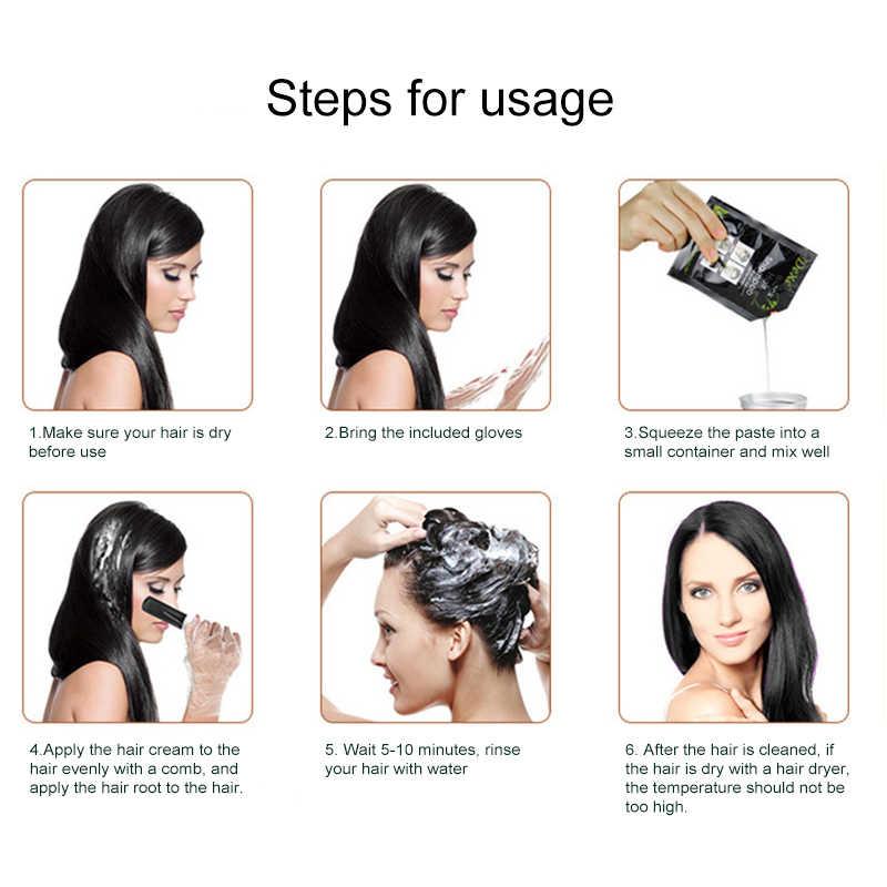 10 pçs dexe cabelo branco blackening tintura de cabelo portátil dois-em-um pacote tingido cabelo preto shampoo uma lavagem preto tslm2