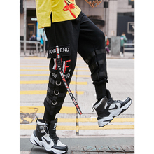 UNCLEDONJM Multi-ribbons Harem Pants Men Hip Hop Casual Joggers Trousers Male 2019 Summer Trendy Tactical Sweatpants 073W