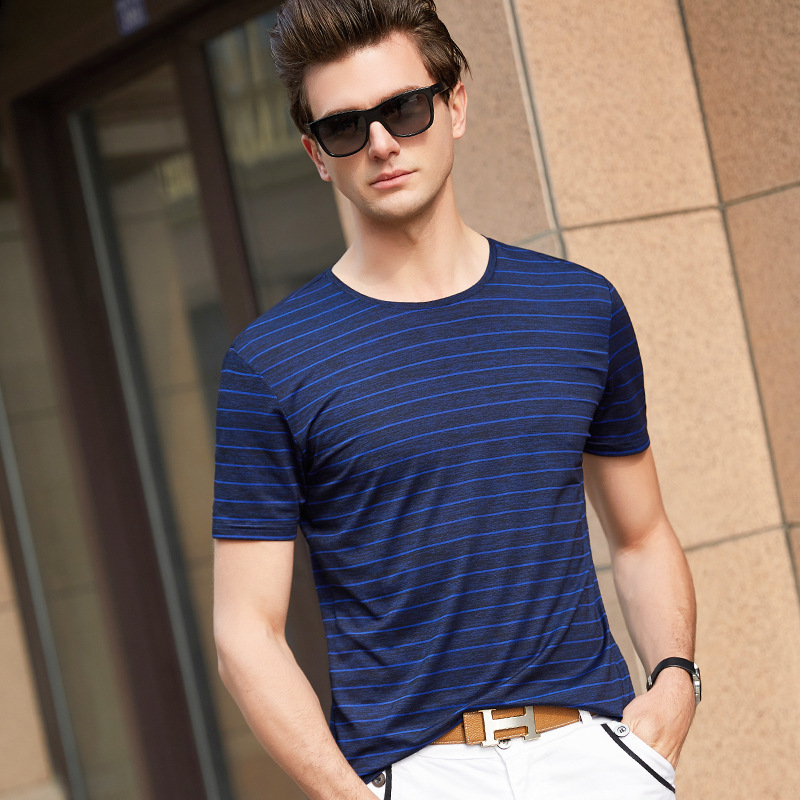 dd95e95fc20 Simple Spring Summer O Neck Collar Striped Solid Color Hot Weather Outwear  Breathable Smart Casual Daily Men s T Shirts MST223-in T-Shirts from Men s  ...