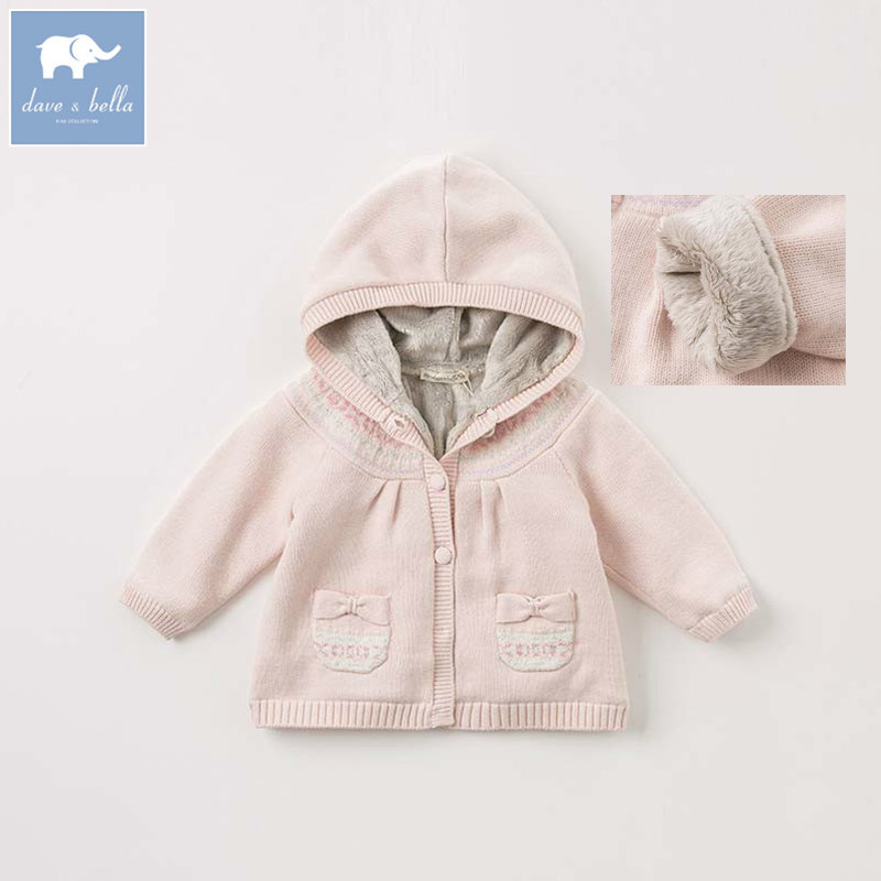 Dave bella baby hooded sweater girls autumn winter coat children boutique Knitted outerwear kids Knit cardigan DBZ8403 Dave bella baby hooded sweater girls autumn winter coat children boutique Knitted outerwear kids Knit cardigan DBZ8403