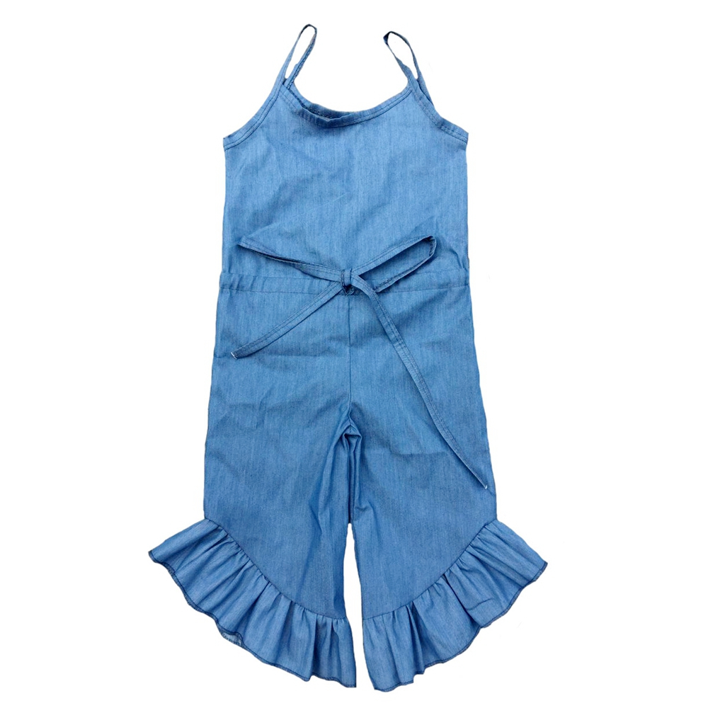 Chiffon Denim Girls Summer Ruffle Stripe Cotton Jumpsuit Romper