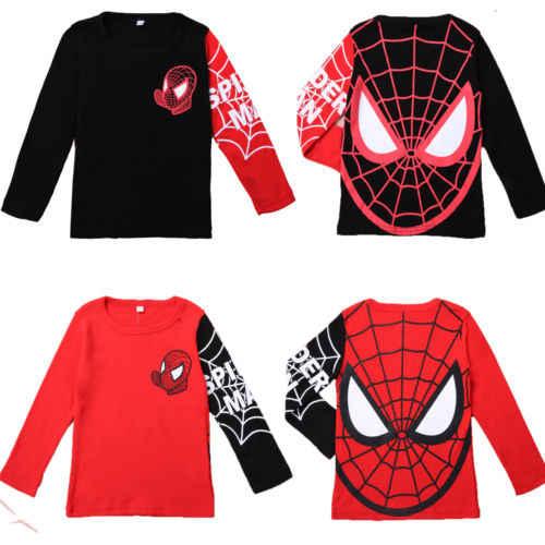 Cool Boys Super Hero เสื้อยืดแขนยาวเสื้อเด็ก Tees เสื้อผ้า 2-8Y