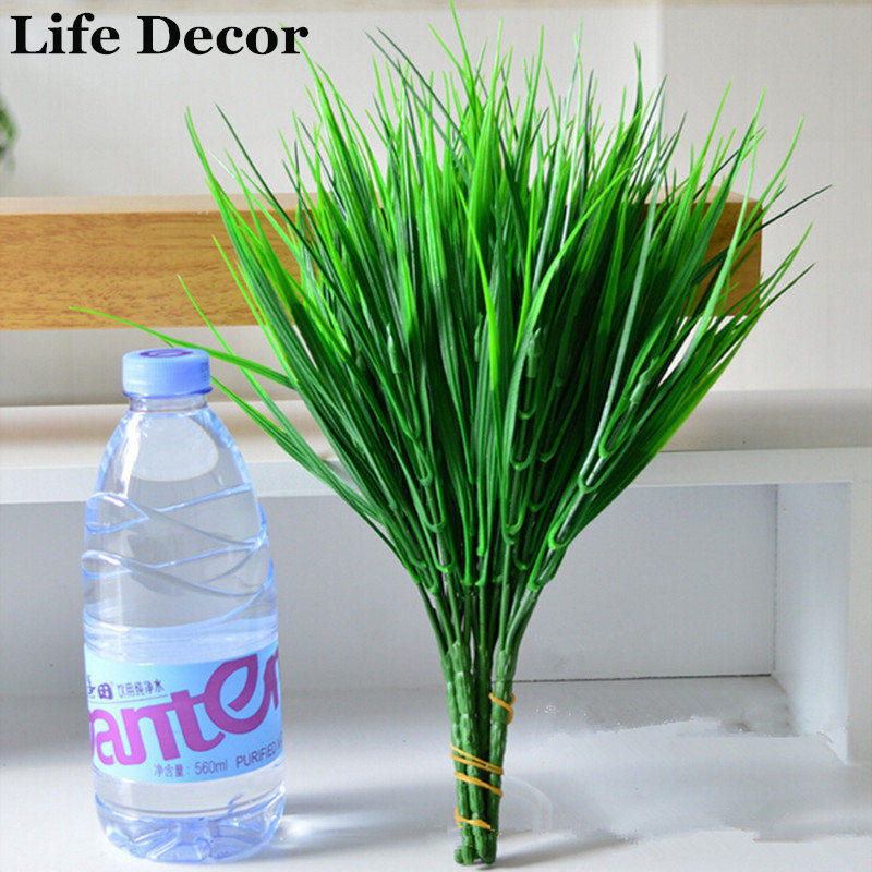 Popular Green Artificial Plants Simulation Flowers Plant For Home Decorative Plastic Grass 7 Fork Spring Grass