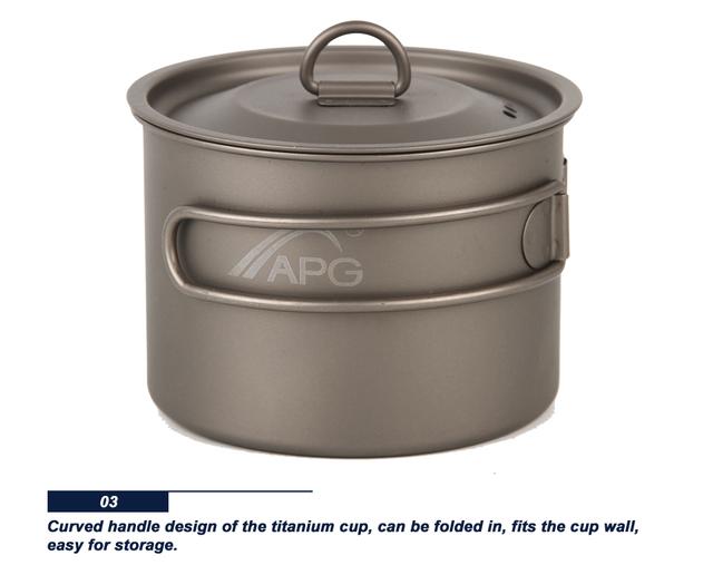 APG 400ml Titanium Water Cup Mug  Foldable Handle Camping Pot Tableware Drinkware Picnic Cookware