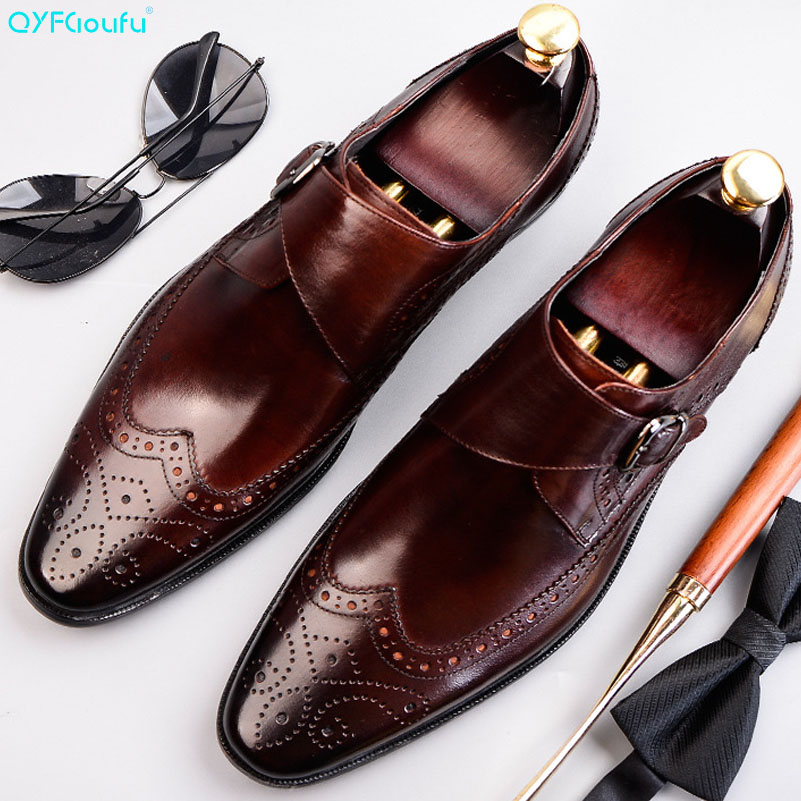 QYFCIOUFU Men 39 s Genuine Leather Shoes Business Dress Formal Shoes Men England Fashion Brogue Shoes Oxfords Monk Strap Shoes in Formal Shoes from Shoes